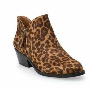 So Angelfish Womens Leopard Print Ankle Boots